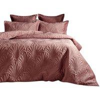 Palmeria Duvet Cover Set (King) (Blush Pink) - Paoletti