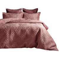Paoletti Palmeria Velvet Quilted Duvet Cover Set (Double) (Blush)