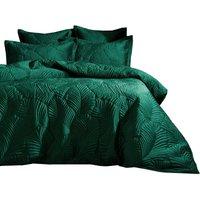 Paoletti Palmeria Velvet Quilted Duvet Cover Set (King) (Emerald Green)