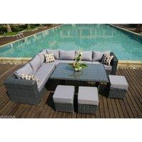 PAPAVER RANGE 9 Seater PE Rattan Corner Grey Sofa and Dining Set Garden Furniture With Rain Cover