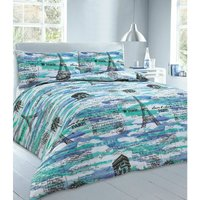 Paris Single Bed Duvet Cover and Matching Pillowcase Bedding Bed Set In Blue