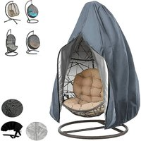 Patio Hanging Egg Chair Cover Rattan Outdoor Wicker Swing Chair Waterproof Dustproof Garden Furniture Cover with Zipper, 190X115cm