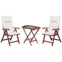 Acacia Wood Bistro Set with Cushions Off-White TOSCANA - BELIANI