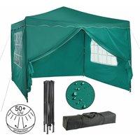 Pavillon pliable Tente de réception 3x3 m avec parois vert - vert - Arebos