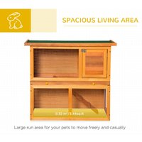 2-Tier Double Decker Wooden Rabbit Pet Hutch with Sliding Tray Opening Top - Pawhut