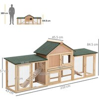 Deluxe Wooden Bunny Rabbit Hutch w/ Ladder and Outdoor Run - Pawhut
