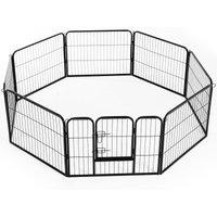 Heavy Duty Dog Pet Puppy Metal Playpen Play Pen Rabbit Pig Hutch Run Enclosure Foldable Black 80 x 60 cm (Small) - Pawhut