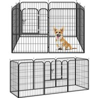Heavy Duty Dog Pet Puppy Metal Playpen Play Pen Rabbit Pig Hutch Run Enclosure Foldable Black 80 x 100 cm (Large) - Pawhut