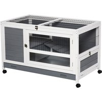 Moving Wooden Rabbit House Small Pets House Hutch Cage w/ Wheels Grey - Pawhut
