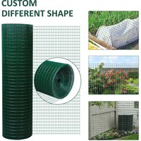 PVC Coated Welded Wire Mesh Fencing Chicken Poultry Aviary Fence Run Hutch Pet Rabbit 30m Dark Green - Pawhut