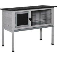 Standing Wood Rabbit Hutch w/ Hinge Roof Door Removable Tray 38x86cm - Pawhut