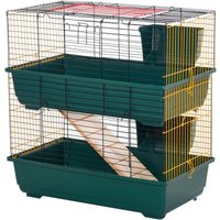 Two-Tier Small Animal Cage Habitat w/ Accessories Pet Play House - Pawhut