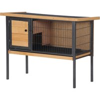 Wood and Metal Elevated Rabbit Hutch Bunny Cage House w/ Asphalt Roof Door - Pawhut