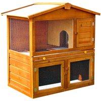 Wooden Rabbit Guinea Pig Ferret Hutch House Cage Pen With Built in Run - 93.5cm x 55cm x 98cm - Pawhut