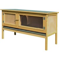 Wooden Rabbit Hutch Bunny Home Outdoor w/ Hinged Top Small - Pawhut