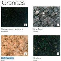 Payson Table Chrome/Stainless Steel Frame Granite Marble/Quartz Tops Brushed Steel Blue - Granite 90 cm 75.5 cm Round 4 Legs Round