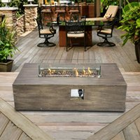 Firepit Outdoor Gas Fire Pit Concrete Style, With Cover HF48708AA-UK - Peaktop