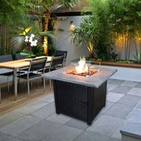 Firepit Outdoor Gas Fire Pit Rattan, Cover, Easy Ignition HF34501BA-UK - Peaktop