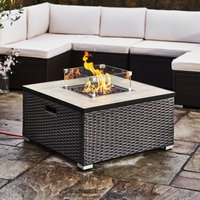 Firepit Outdoor Gas Fire Pit Steel With Lava Rock and Cover HF31188AA-UK - Peaktop