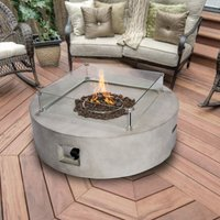 Firepit Outdoor Gas Fire Pit Stone With Lava Rock and Cover HF42408AA-UK - Peaktop