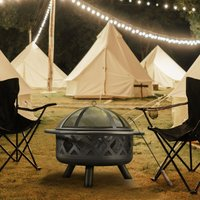 Firepit Outdoor Wood Burning Fire Pit 76cm wide For Logs Steel With Cover CU296 - Peaktop