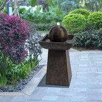 Outdoor Garden Patio Charcoal LED Water Fountain Feature VFD8410-UK - Peaktop