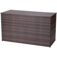 : Peaktop Outdoor Garden Patio Furniture 672 Litre XL Storage Box Brown Rattan Conservatory Chest PT-OF0010