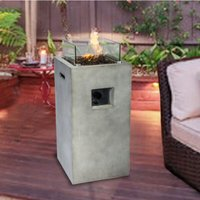 Firepit Outdoor Gas Fire Pit Concrete Style, With Cover HF31701AA-UK - Peaktop