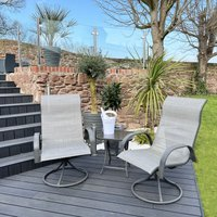 Peaktop Patio Furniture Set Garden Table and 2 Chairs Grey Bistro Set PT-OF0003