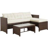 Peaktop Rattan Patio Furniture Table Sofa Chair Brown Conversation PT-OF0020-UK