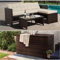 Rattan Garden Furniture Set inc Sofa, Table and Extra Large Storage Brown PT-OFBUNDLEBB - UK - Peaktop