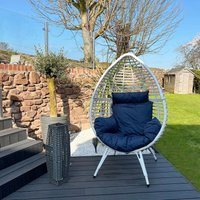 Rattan Outdoor Furniture Egg Chair Patio with Cushion Blue and White PT-OF0005-UK - Peaktop