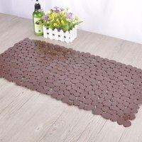 Livingandhome - Coffee Pebble Rectangular PVC Bath Mat Bathroom Shower Anti Non Slip 70 x 36 cm