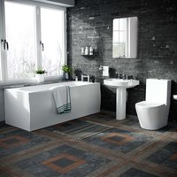 Pedestal Basin and Close Coupled WC Toilet with Straight Edge Bath Bathroom Suite
