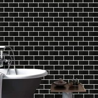 Bearsu - Peel and Stick Wallpaper Removable Black Brick Contact Paper Decorative Self Adhesive Shelf Drawer Liner Roll 17.7 Inch by 9.8 Feet