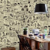 Peel and Stick Wallpaper Removable Vintage Newspaper Wall Paper Decorative Self Adhesive Shelf Drawer Liner Roll 17.7 Inch by 16 Feet