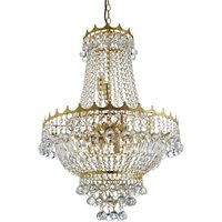 Searchlight Versailles - 9 Light Crystal Chandelier Gold Finish, E14
