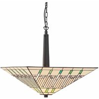 Pendant light 50 cm Mission, glass and metal