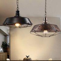 Pendant Light-Retro Pendant Light Vintage Industrial Pendant Lamp Metal Iron Chandelier Antique Pendant Lamp Rust 260MM