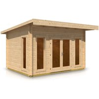 Timber Garden Trade - Pent Style Roof Log Cabin 3.1m x 4.2m x 44mm