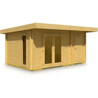 Timber Garden Trade - Pent Style Roof Log Cabin 3.8m x 5.3m x 44mm