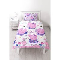 Childrens/Girls Official Happy Reversible Duvet Cover Bedding Set (Single) (Multicoloured) - Peppa Pig