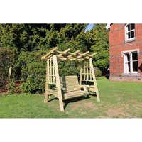 Pergola Swing, wooden garden swinging seat hammock with trellis - CHURNET VALLEY