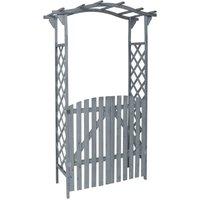 Pergola with Gate Grey 120x60x206 cm Solid Firwood - VIDAXL