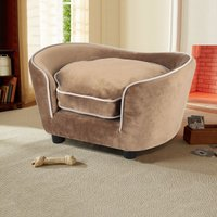 Pet Couch Dog Cat Wooden Sofa Bed Lounge Cushion - Brown - LIVINGANDHOME