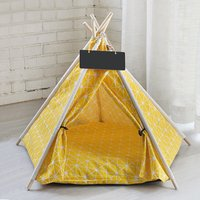 Pet Dog Cat Nest Bed Tent House Puppy Folding Kennel 50x50x60 cm Yellow - LIVINGANDHOME