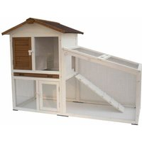 Rabbit Hutch Tommy White and Brown 140x65x100 cm 20072 - @pet