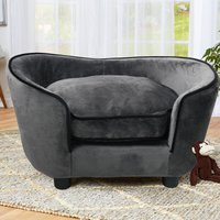 Pet Sofa Bed Dog Cat Kitty Puppy Couch Soft Cushion Chair Couch Settee Lounger Grey - LIVINGANDHOME