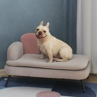 Pet Sofa Couch Dog Cat Wooden Sponge Sofa Bed Chaise Lounge Chair with Cushion - LIVINGANDHOME