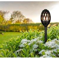 (1 Pack) Garden Spike Flame Light Atmosphere Black Effect Outdoor Decking External Patio - Phoebe Led